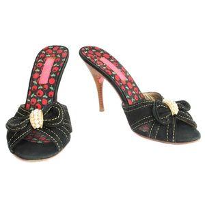 Betsey Johnson Black Suede Pearl Bow Slide Heels